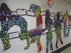 Classroom art project: Silhouettes w/colored circles