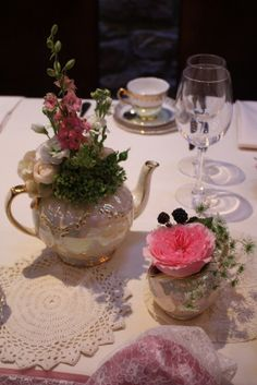 The Truly Bespoke Vintage Tea Pot filled with flowers