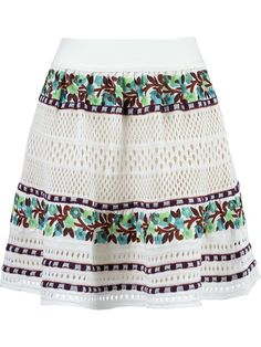 White, green and purple crochet skirt from Cecilia Prado featuring an elasticated waistband, a floral print and a nude lining.  Composition: Cotton 51% Acrylic 49%  Models Measurements Height: 177 Bust/Chest (cm): 78 Waist (cm): 61 Hips (cm): 89 Model is wearing size: P