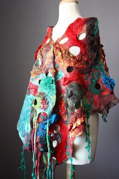 Huge Nuno Felted scarf / shawl Wool  Silk  Rust by VitalTemptation, $250.00