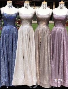 A-Line Sparkle Long Prom Dresses with Split Backless Evening Dress Stunning Prom Dresses, Pretty Prom Dresses, Simple Prom Dress, Hoco Dresses, Prom Party Dresses, Dance Dresses, Ball Dresses, Homecoming Dresses, Ball Gowns