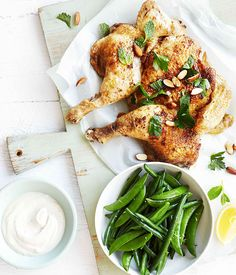 Roast chicken with yoghurt tahini dressing, lemon and mint