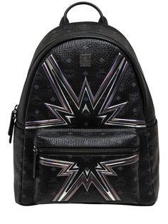 MCM Medium Stark Cyber Flash Backpack, Black. #mcm #bags #leather #backpacks #lace #