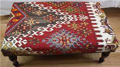 R5215 Decorative Antique Turkish Kilim Stool Table