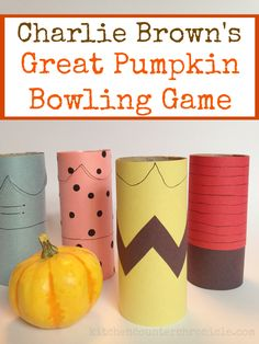"""We had so much fun reading """"It's A Great Pumpkin, Charlie Brown"""" that we turned it into the great pumpkin bowling game, with Charlie and the gang."""