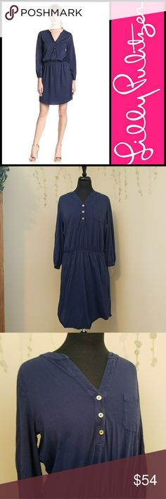 """LILLY PULITZER Beckett Shirt Dress 82531 Style: 82531 Shirtdress With Shirt Tail Hem, Bracelet Length Sleeve, And Pocket At Chest. 19"""" From Natural Waist To Hem.  100% pima cotton.  Preowned with lite wear and no flaws.   Navy blue.   Size L Black version also avalible in my closet.    +Offers welcome +Bundle for a private discount Lilly Pulitzer Dresses"""