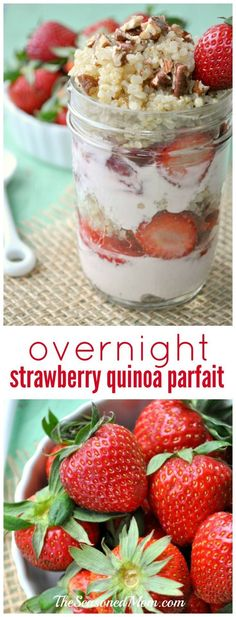 Overnight Strawberry Quinoa Parfaits are an easy, make-ahead, healthy and high-protein breakfast or snack option for busy days!