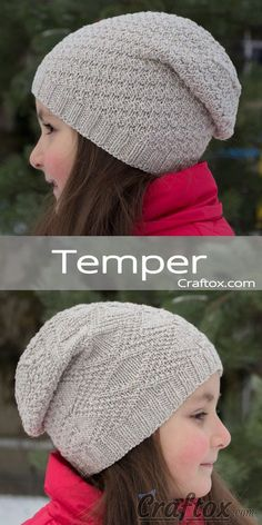 "Child's slouchy beanie hat. Free knitting pattern for beginners. Child's slouchy beanie hat - ""Temper"". Free knitting pattern for beginners. Let me offer you this simple, but at the same time lovely and stylish hat. Such a model will suit both a young girl, and a grown-up woman. #child's #slouchy #beanie #hat #temper #free #knitting #pattern #beginners #young #girl #grownup #woman #accessory #simple #stylish"