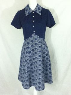 Montgomery Ward Mid Century Modern Navy Blue Vintage Textured Career Secretary Tea Party Day Dress Size Small / Medium by ShopWShan on Etsy