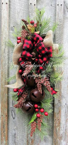 Farmhouse Holiday Swag with Sleigh Bells