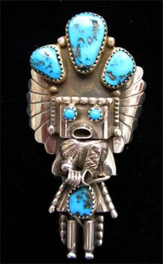 Navajo Kachina Sterling Silver & Turquoise Pendant & Pin Native American Indian | eBay