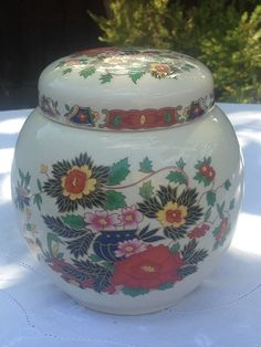 Sadler Ginger Jar + Lid, Indian Tree/Indian Peony, no cracks, chips or crazing, Made in England, circa 1937-1947, £50 +  p&p