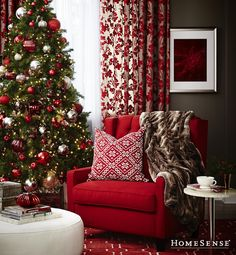 love the red chair, pillow & fuzzy throw Merry Christmas To All, All Things Christmas, Christmas Home, Christmas Holidays, Xmas, Classic Christmas Decorations, Holiday Decor, Holiday Gifts, Santa Baby
