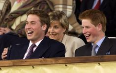 Princes William and Prince Harry with Sophie, Countess of Wessex at a concert in the gardens of Buckingham Palace on Monday June 3, 2002 to commemorate the Golden Jubilee of Queen Elizabeth II.