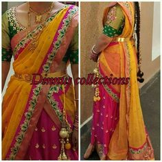 Lovely combo half saree with small border chunni totally in love with it Lehenga Crop Top, Half Saree Lehenga, Kids Lehenga, Lehenga Blouse, Saree Dress, Bridal Lehenga, Half Saree Designs, Lehenga Designs, Saree Blouse Designs