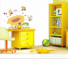 Bedroom decoration stickers stickers cartoon children room three generation PVC material cartoon sunflower AY606-in Wall Stickers from Home & Garden on Aliexpress.com | Alibaba Group