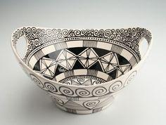 black and white bowl