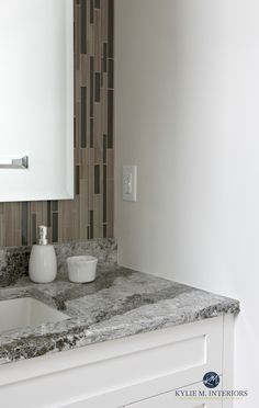 Cambria Galloway with Sherwin Williams Aesthetic White in small bathroom with mosaic tile. Kylie M Interiors Off White Paint Colors, Best White Paint, Off White Paints, Neutral Paint Colors, Wall Colors, Modern Bathroom, Small Bathroom, Bathroom Ideas, Remodled Bathrooms
