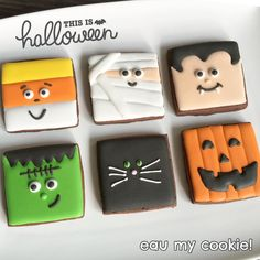Halloween cookies inspired by Lilaloa Halloween cookies galletas Halloween Cookies Decorated, Halloween Sugar Cookies, Halloween Desserts, Halloween Food For Party, Easy Halloween, Halloween Treats, Decorated Cookies, Halloween 2019, Fall Cookies