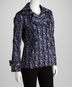 Take a look at this Joy Mark Gray & Blue Abstract Jacket by Spring Breeze: Women's Outerwear on @zulily today!