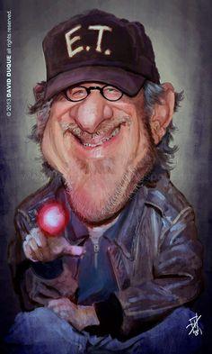 Caricature of Steven Spielberg Cartoon Faces, Funny Faces, Cartoon Art, Caricature Artist, Caricature Drawing, Funny Caricatures, Celebrity Caricatures, Famous Cartoons, Funny Cartoons