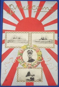 1900's Japanese Postcard Commemorative for the visit of the American Fleet (Great White Fleet) / Rising Sun Design / Photos of Rear Admiral Robley D. Evans , USS Wisconsin , Louisiana & Connecticut US/ Navy battleships / rising sun / vintage antique old Japanese military war art card / Japanese history historic paper material Japan