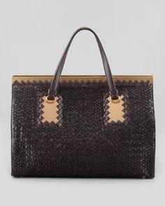 e3a7dffdea96 Bottega Veneta Intrecciato Leather   Woven Yarn Tote Bag
