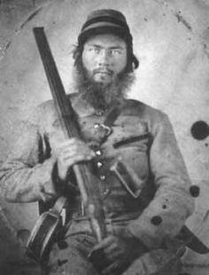 Confederate soldier with double-barrel shotgun