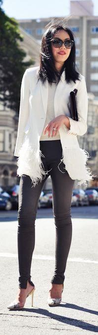 Jacket - Elizabeth and James  Sweater - Ann Taylor  Leather pants - Balenciaga  Heels - Stella McCartney