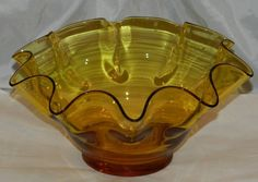Vintage Mid Cent Blenko Handblown Glass Spin Bowl in  Amber FREE SHIPPING $19.99 FREE SHIPPING