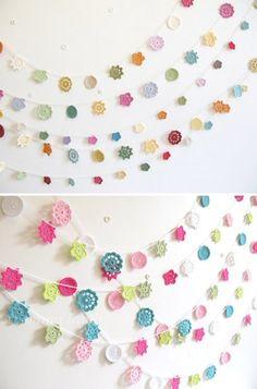 Guirnalda flores crochet - Imagui