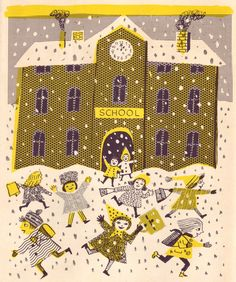 "One of Beatrice Braun-Fock's lovely illustrations for ""Old Man Winter Comes to Town"" by Hilde Hoffmann. American edition published in 1960 by Franklin Watts Inc."