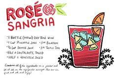 Rosé Sangria #Cocktail Recipe with Dry Rosé Wine, Pineapple Juice, Orange Juice, Bourbon, and Triple Sec: http://ohsobeautifulpaper.com/2014/08/rose-sangria-cocktail-recipe/ | Illustration: Shauna Lynn for Oh So Beautiful Paper #OSBPhappyhour