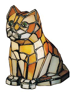 Description: This lighted Orange stained glass Kitten sculpturewith eyes that are made of glistening glass jewels islike a precious pet that will charm its way into yourheart. Specifications: Total Wi