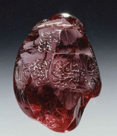 themagicfarawayttree: Inscribed royal spinel «The Timur Ruby» Mughal dominions, before 1449 to mid-18th century. Ruby 249.3 carats. The al-Sabah Collection, Kuwait.