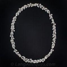 Edwardian Platinum and Diamond Laurel Leaf Necklace - Edwardian Jewelry - Vintage Jewelry