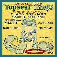 Topseal Jar Rings for Canning 1925. Quilt Block printed on cotton with Hot Pad Pattern. Ready to sew.  Single 4x4 block $3.95. Set of 4 blocks with pattern $14.95.