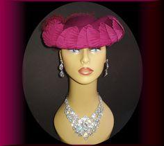 Vintage 1940s Hat Designer Black Feather Hat by vintagediva60, $48.50