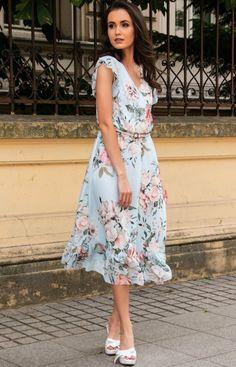 Roco Modna sukienka midi w błękitne kwiaty 0250/D22 Fashion Moda, High Low, Model, Dresses, Vestidos, Scale Model, The Dress, Dress