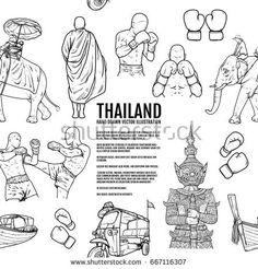 Thailand Travel Landmarks pattern. Hand draw Vector Illustration. Amazing thailand