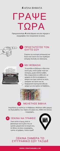 4 απλά βήματα για να ξεκινήσεις... www.lydiapsaradelli.gr #writing #lydiapsaradelli #book