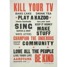 Kindness & Kazoos...what's not to love. Aardvark Manifesto 2010.