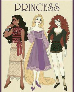 Moana, Rapunzel and Merida Disney Animation, Disney Pixar, Heros Disney, Disney Girls, Disney And Dreamworks, Disney Characters, Punk Disney, Disney Princess Fashion, Disney Princess Art
