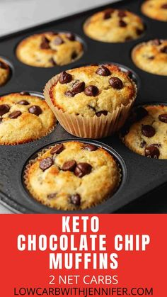 keto breakfast Want an unbelievably easy, low carb muffin recipe with gooey chocolate chips in every bite? Keto Chocolate Chip Muffins are the perfect healthier alternate if you're tryi Low Carb Desserts, Low Carb Recipes, Dessert Recipes, Bread Recipes, Dinner Recipes, Lunch Recipes, Flour Recipes, Vegetarian Recipes, Liw Carb Snacks