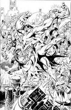 Batman & Hulk vs Villains by Jose Luis Garcia-Lopez Dc Comics Superheroes, Dc Comics Characters, Dc Comics Art, Comic Book Pages, Comic Book Artists, Comic Books Art, Comic Art Fans, Univers Dc, Univers Marvel