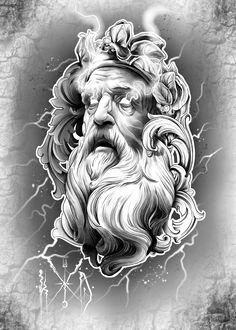 Lil B Tattoo, Zeus Tattoo, Statue Tattoo, Angel Tattoo Designs, Tattoo Sleeve Designs, Sleeve Tattoos, Gott Tattoos, Mago Tattoo, Archangel Tattoo