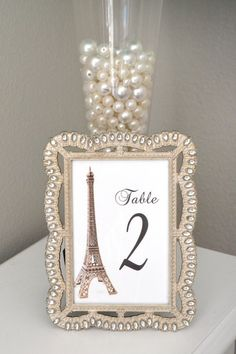 Eiffel Tower Table Number. Parisians Theme Decor. by KimeeKouture