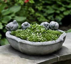 The Alouette Planter is a beautiful tabletop, garden or terrace planter featuring four birds and a unique shape! http://www.garden-fountains.com/Detail.bok?no=8202