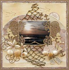 Monochromatic page * Heartfelt Creations* - beach scrapbook layout - Scrapbook.com