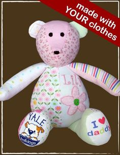 Make a teddy bear out of your baby's clothes or first blanket or something as a keepsake